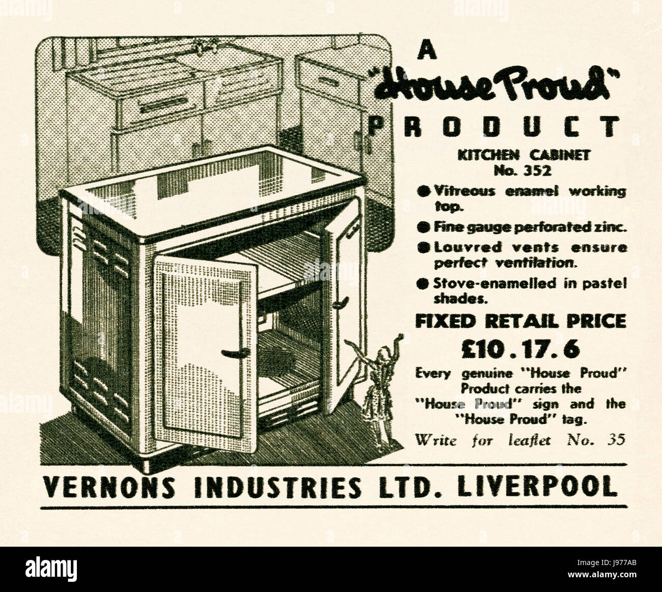 an advert for a house proud kitchen cabinet made by vernons of liverpool   it appeared in a magazine published in the uk in 1947 an advert for a house proud kitchen cabinet made by vernons of      rh   alamy com