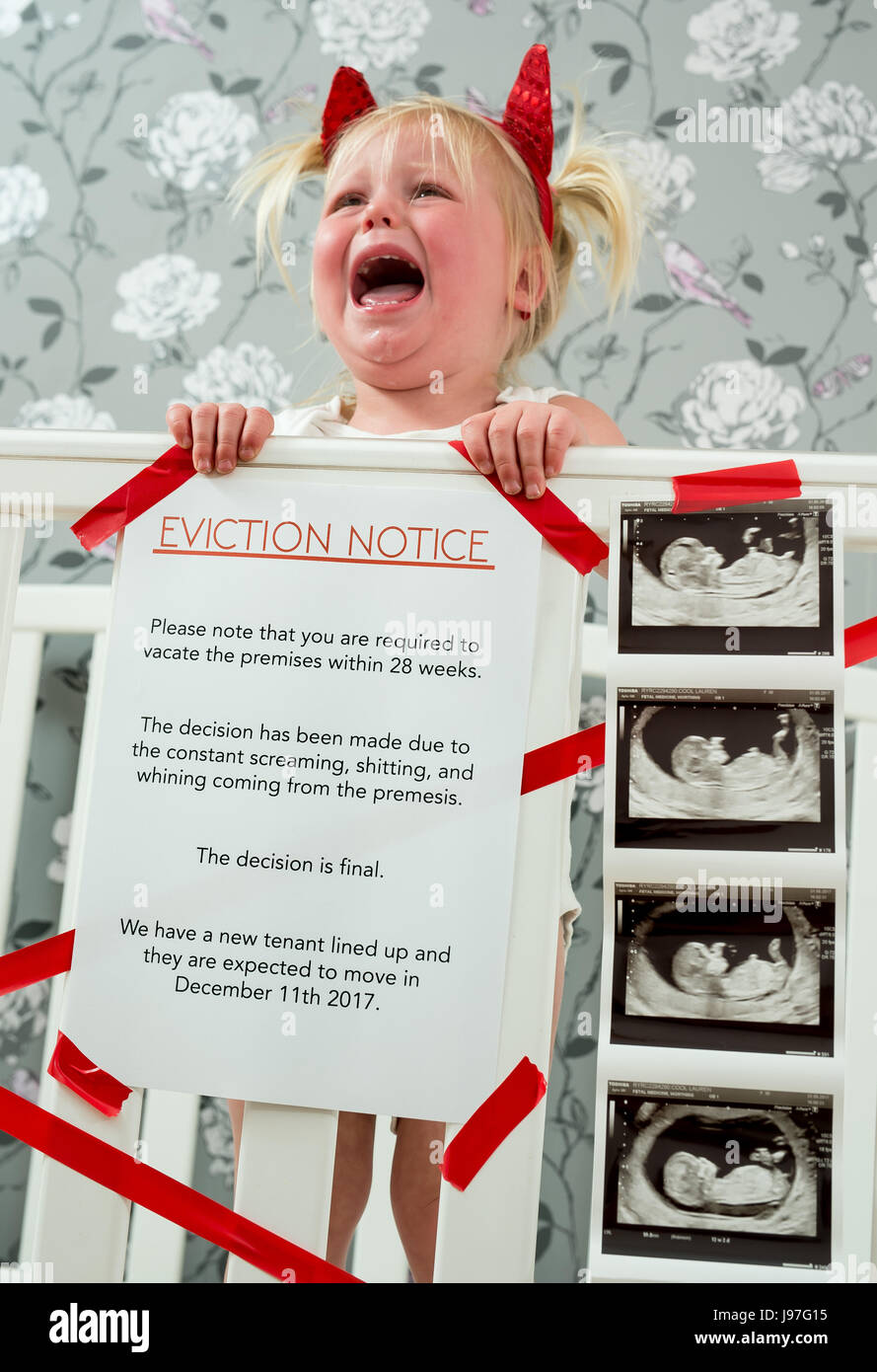 Funny Baby Announcement. A Child Stood Up In The Cot With