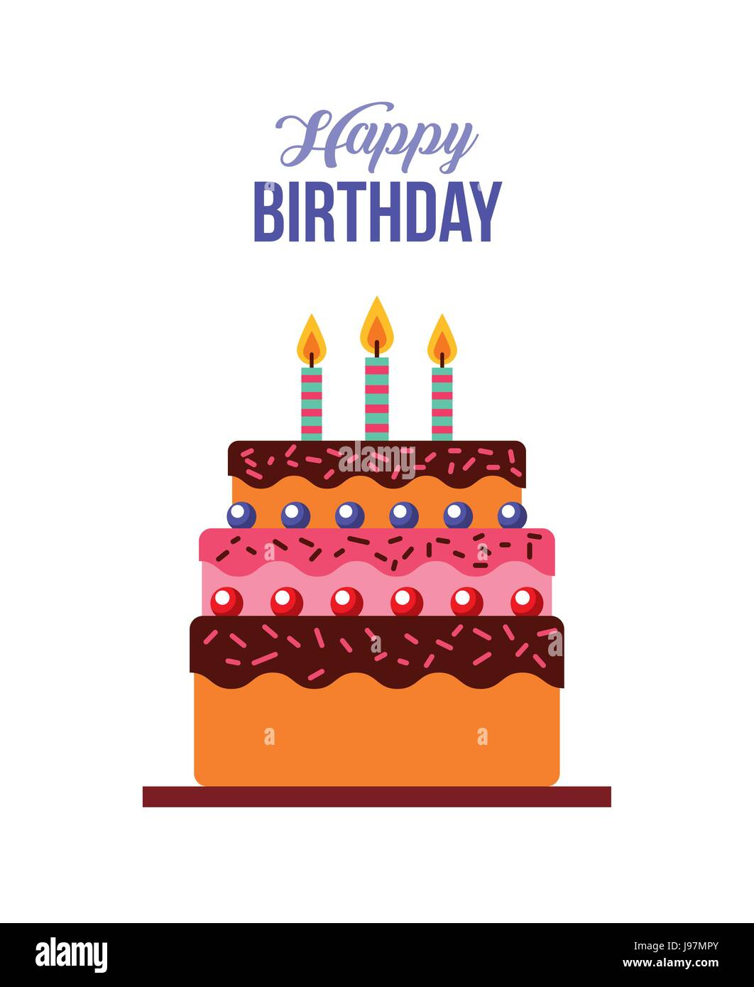 happy birthday kawaii cake Stock Vector Art Illustration Vector