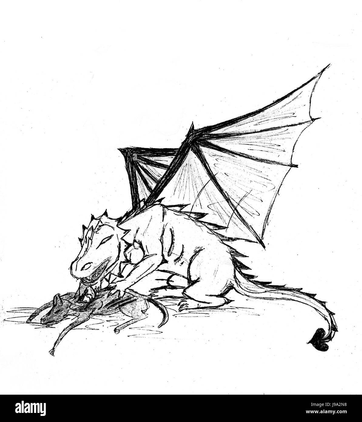 hunter prey to gorge engulf devour dragon drawing
