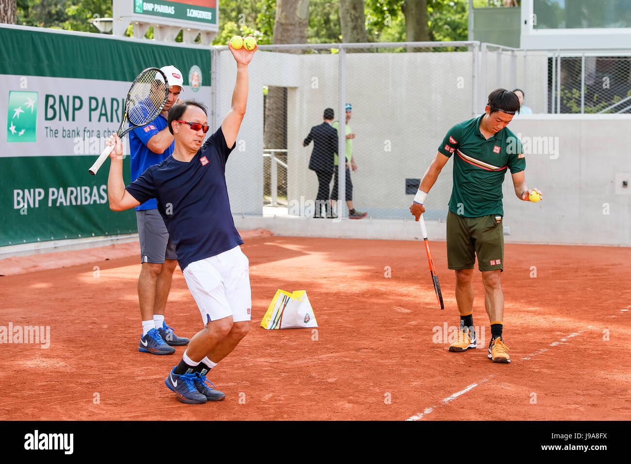 Paris France 28th May 2017 Michael Chang Kei Nishikori JPN