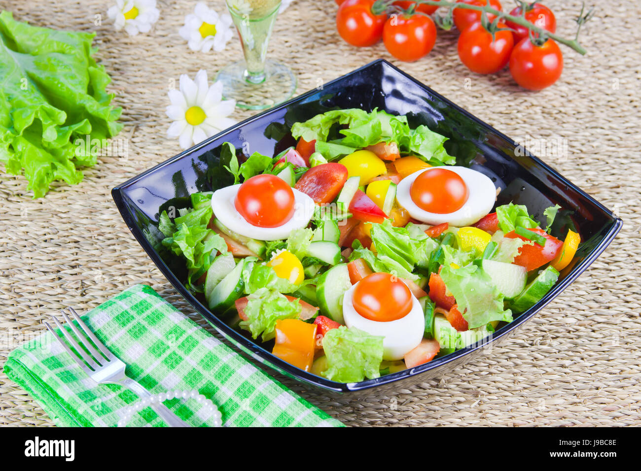 Decorative Dish Lettuce From Vegetables With Fresh Greenery In A Decorative Dish