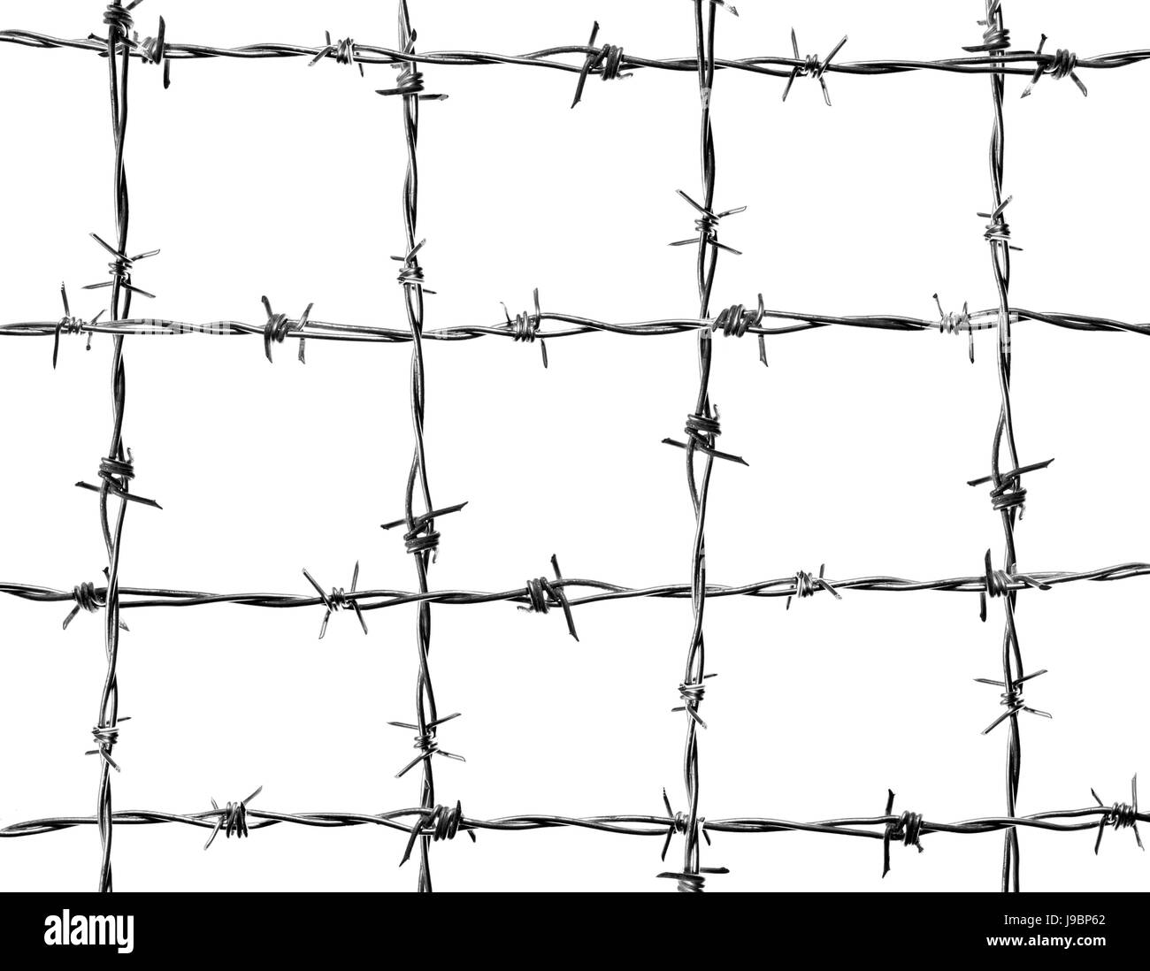 4 horizontal lines and 4 vertical of new and clean barbed wire Stock ...