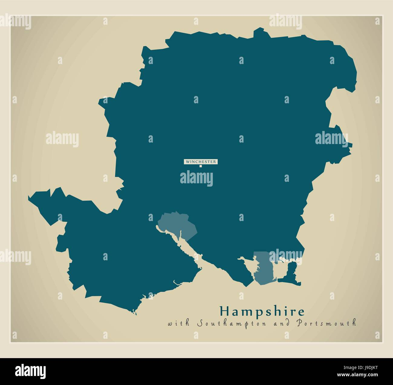 Modern Map  Hampshire county including Southampton and Portsmouth