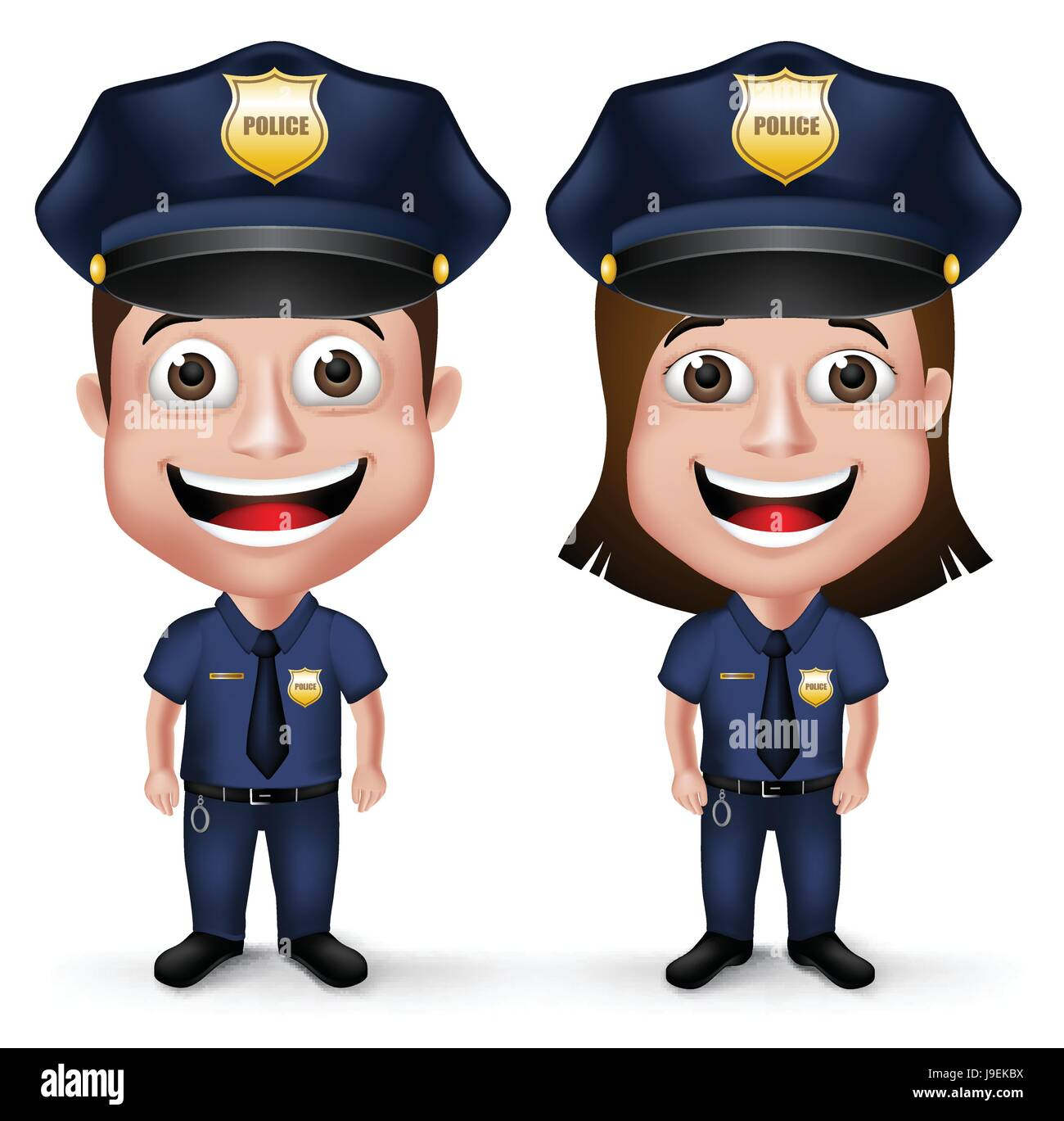 Friendly Police Characters Policeman And Policewoman