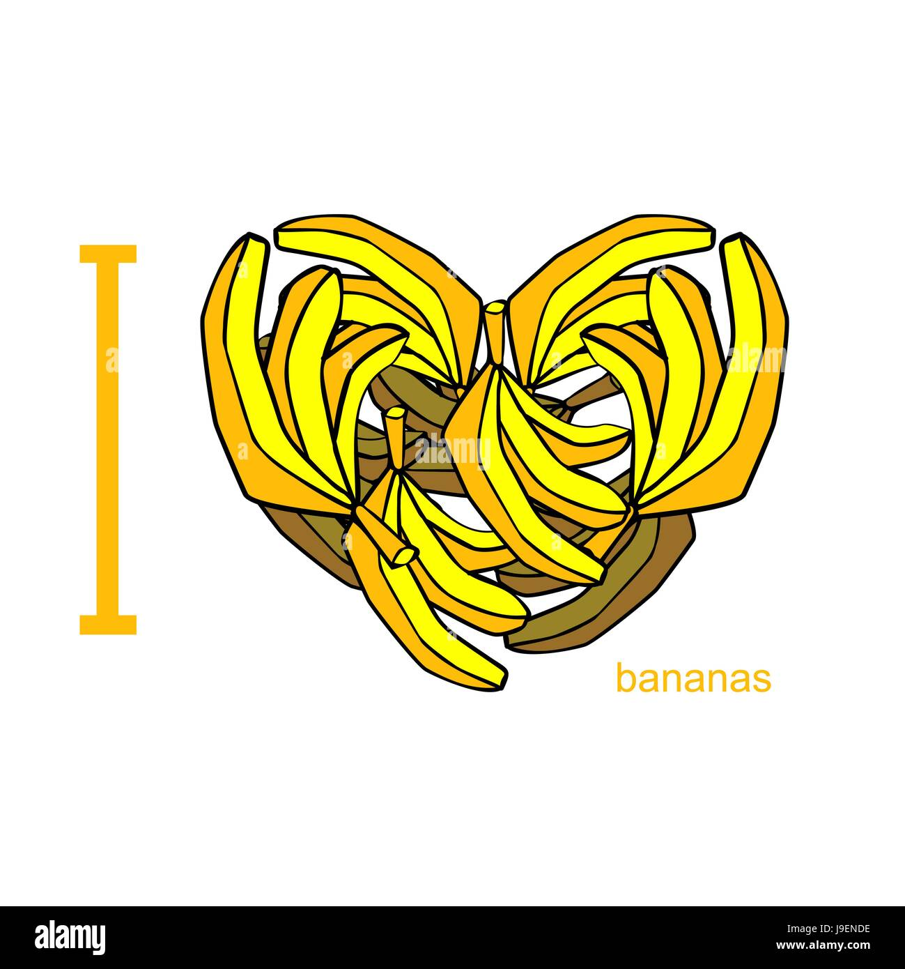 I love bananas symbol of heart of bananas tropical african fruit i love bananas symbol of heart of bananas tropical african fruit useful food for human health vector illustration biocorpaavc