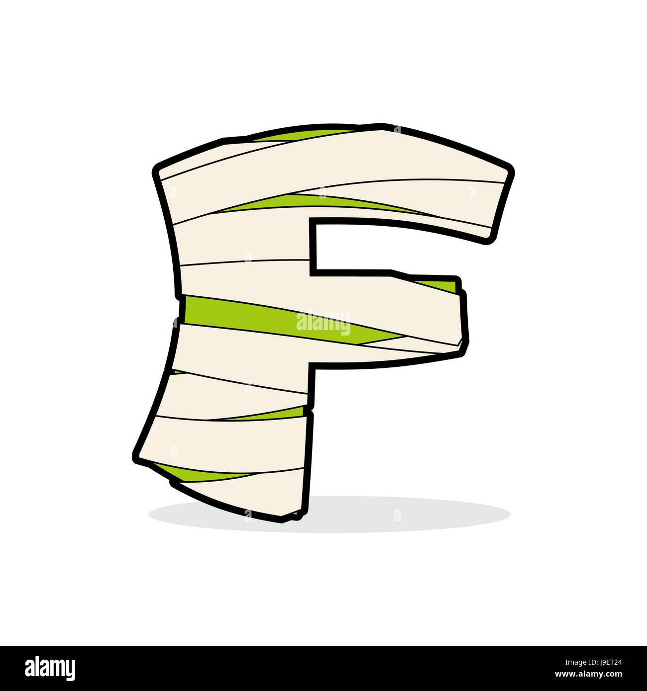 Letter F Egyptian zombies ABC sign coiled medical bandages – Monster Template