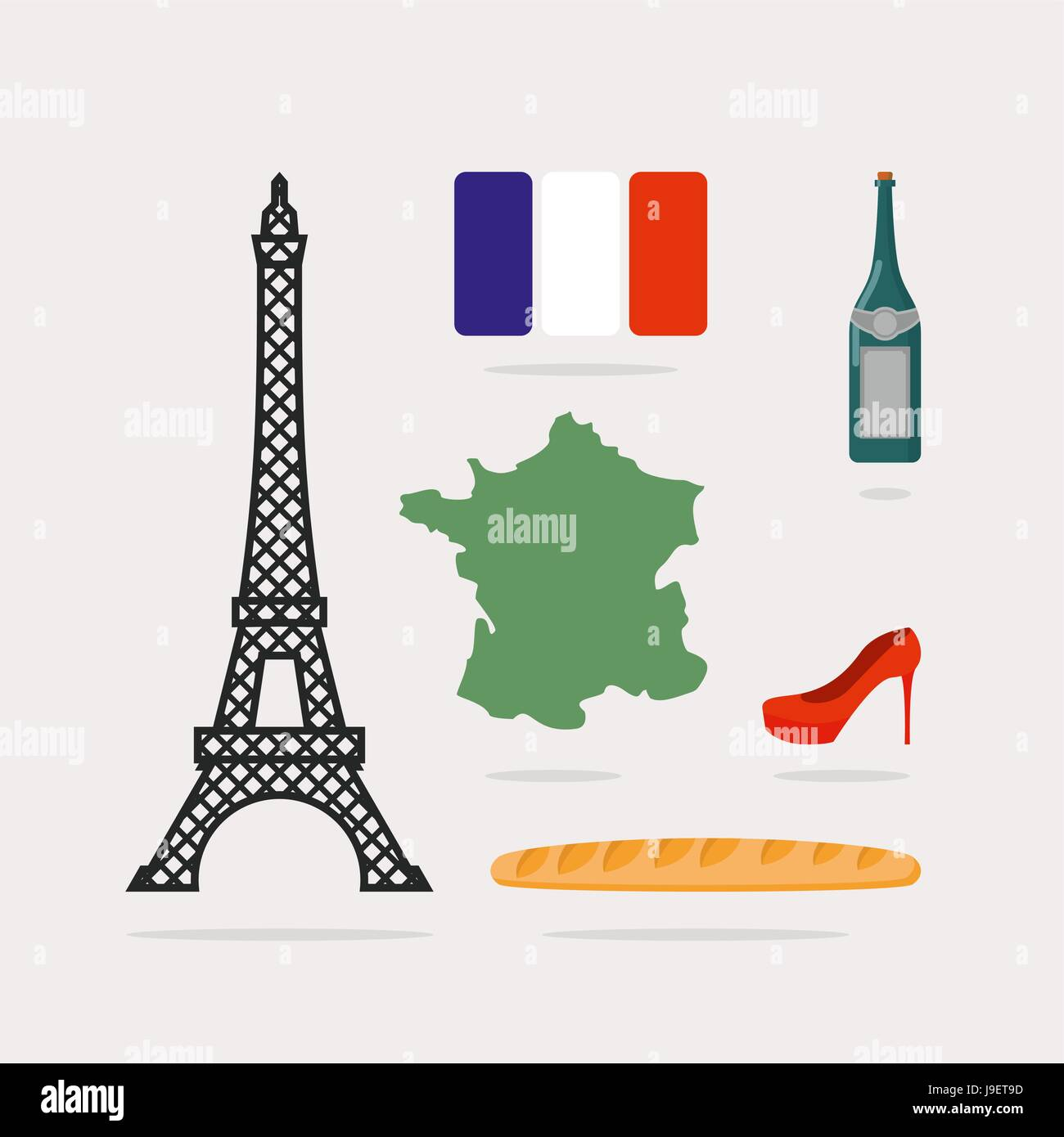 Icons symbols of france eiffel tower and map country baguette icons symbols of france eiffel tower and map country baguette and bottle of wine french flag and red beautiful shoes national characteristics of p biocorpaavc