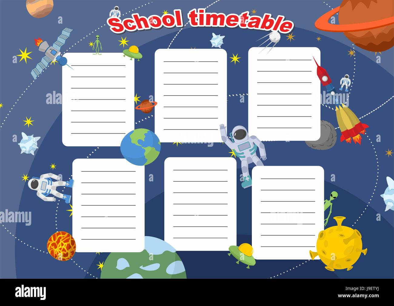 School timetable with space design Lesson plans all week Planets – School Time Table Designs