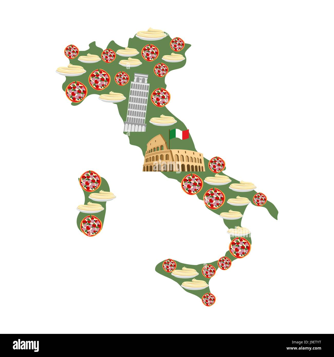Worksheet. Map of Italy Traditional Italian food symbols Pizza and pasta