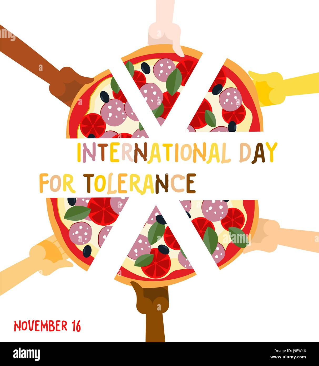 International day for tolerance 16 november hands of different international day for tolerance 16 november hands of different nationalities to eat pizza vector poster pizza association friends biocorpaavc Image collections