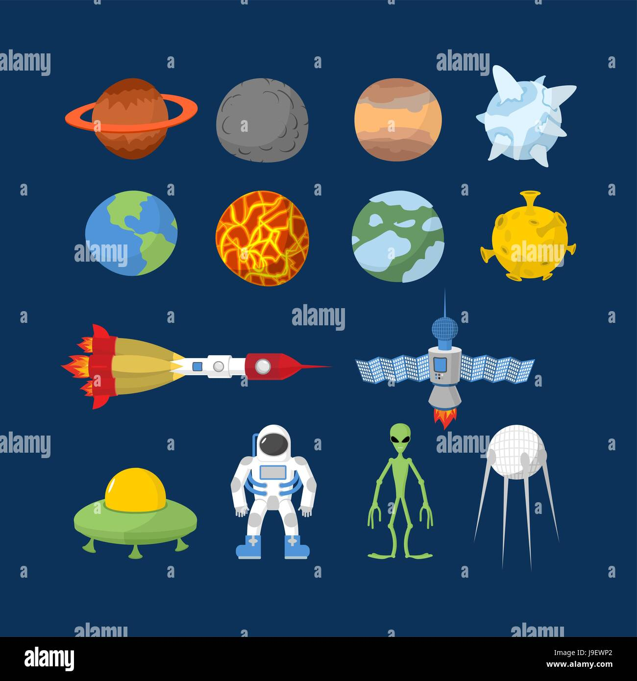 space set of icons vector illustrator cartoon heroes alien and