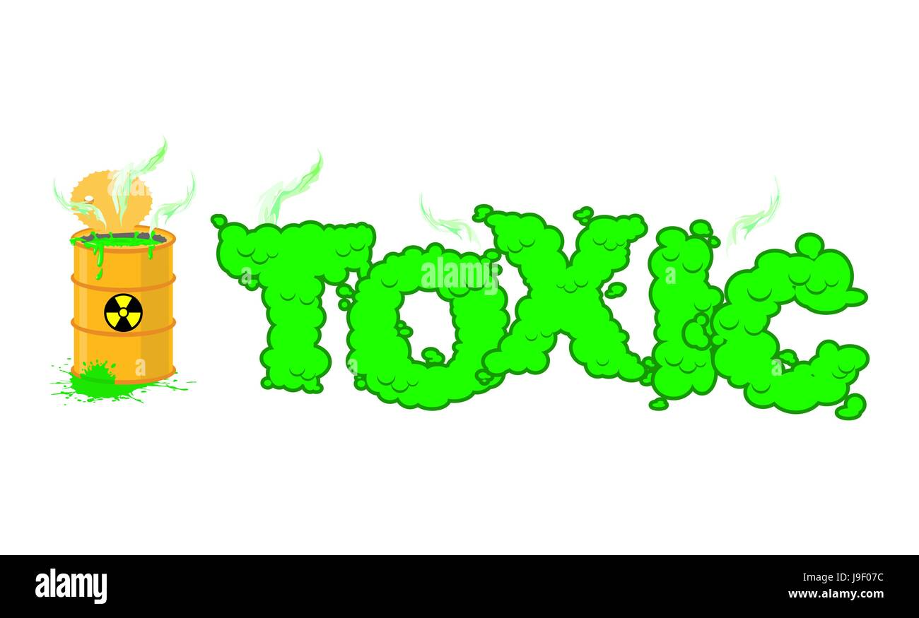 Toxic text poisonous green fumes open barrel with hazardous toxic text poisonous green fumes open barrel with hazardous liquid venomous waste letters nuclear danger typography biocorpaavc Images