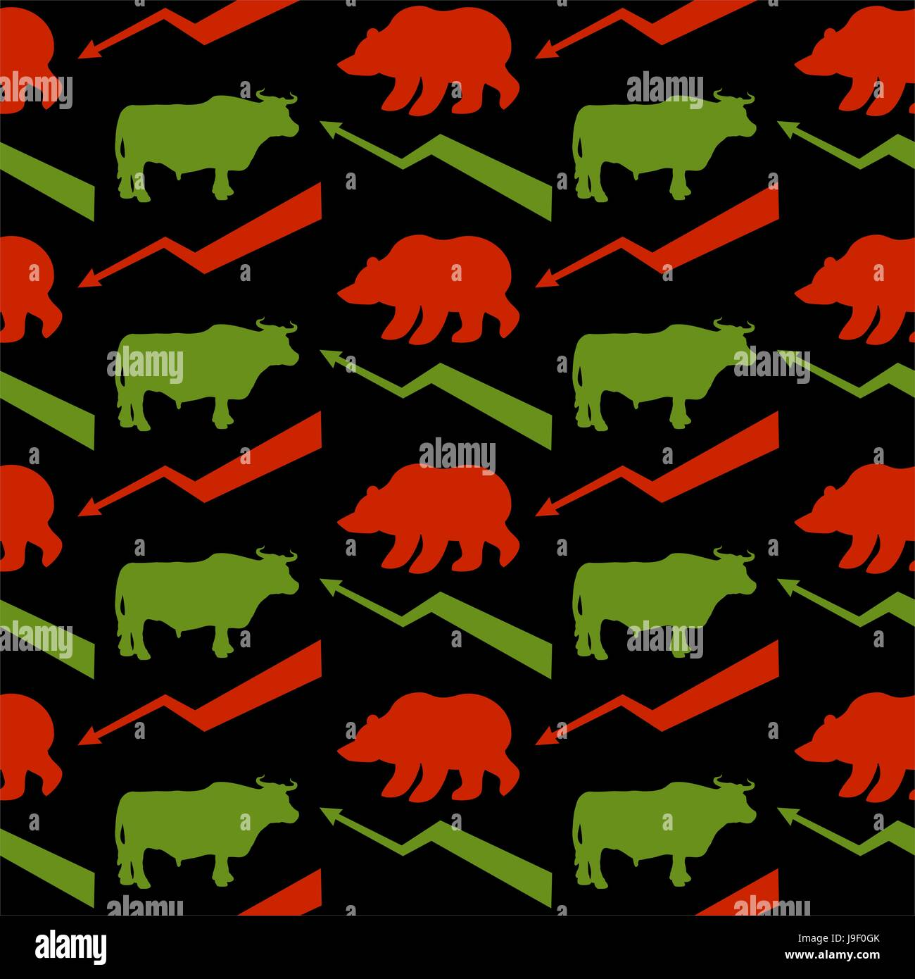 Bulls and bears traders seamless pattern green red bull and bear bulls and bears traders seamless pattern green red bull and bear rise and fall of course green arrow up red arrow down texture for exchange fabri buycottarizona