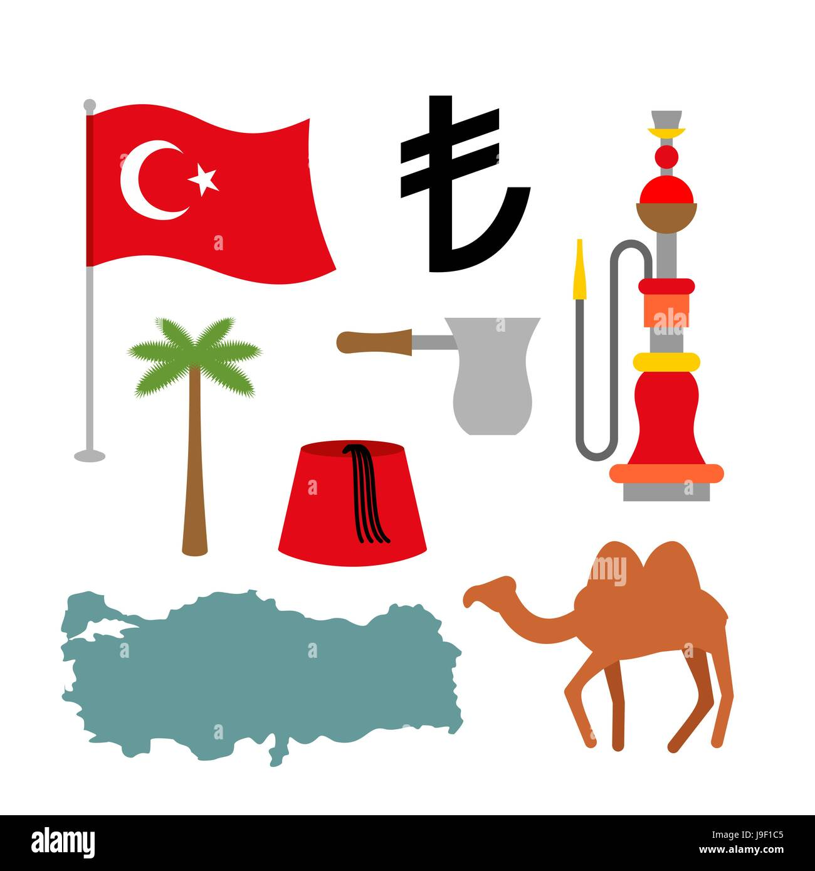 Turkey symbol set turkish national icon state traditional sign turkey symbol set turkish national icon state traditional sign map and flag of country turk and turkish lira sign camels and palm trees fez and buycottarizona