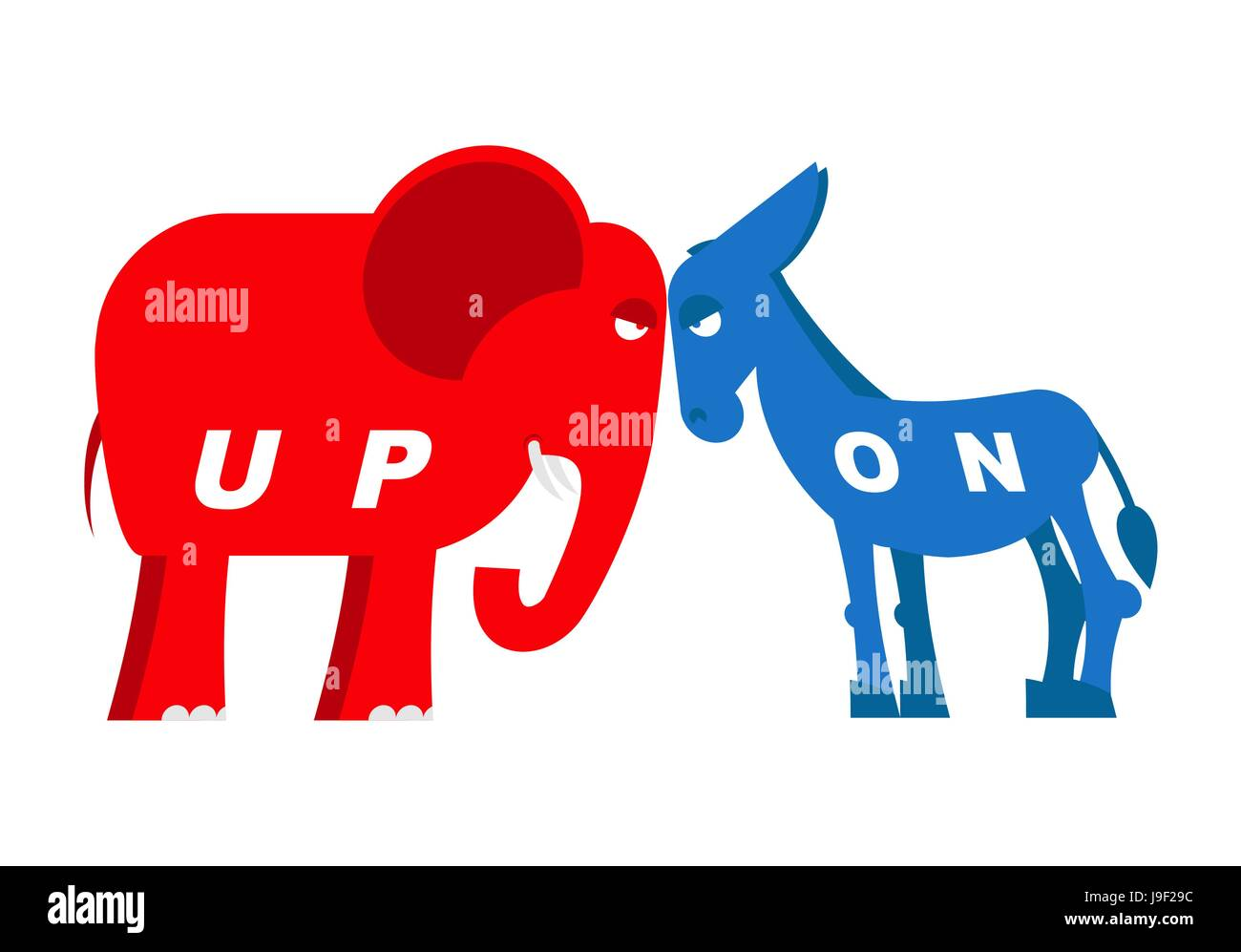 Red elephant and blue donkey symbols of political parties in red elephant and blue donkey symbols of political parties in america democrats against republicans opposition to usa policy symbol of political deb buycottarizona