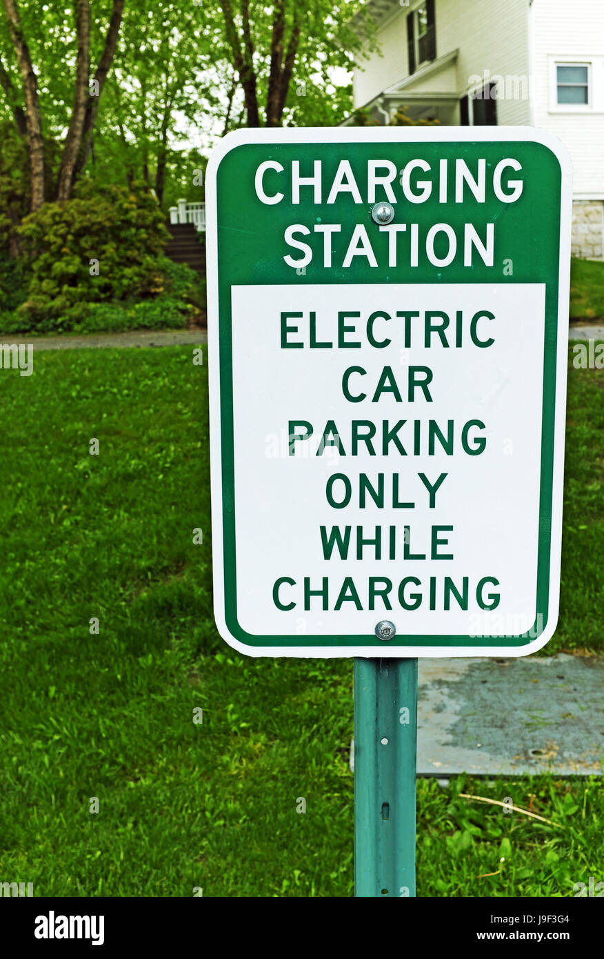 Charging Station Sign Indicating Parking For Electric Cars Only