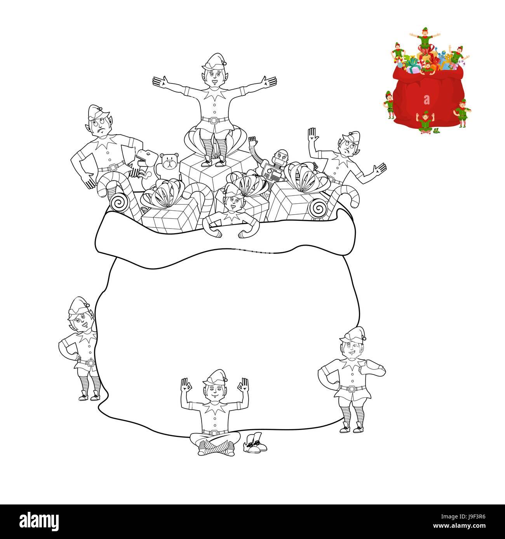 Coloring book pictures of elves - Santa Bag And Elf Coloring Book Christmas Sack And Elves Line Style Santas Helper