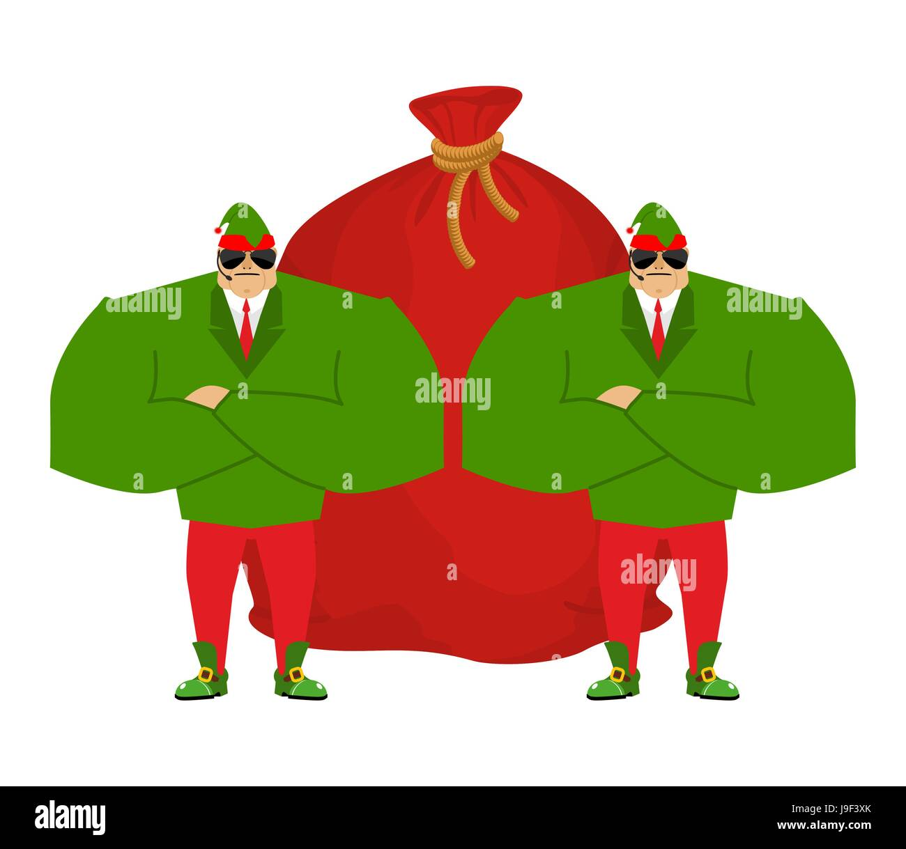 santa elf and red bag claus bodyguards christmas guards