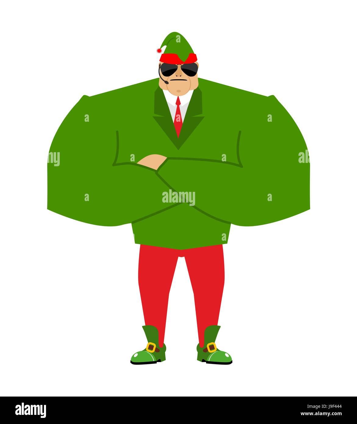 santa elf bodyguards christmas guards protecting new year stock