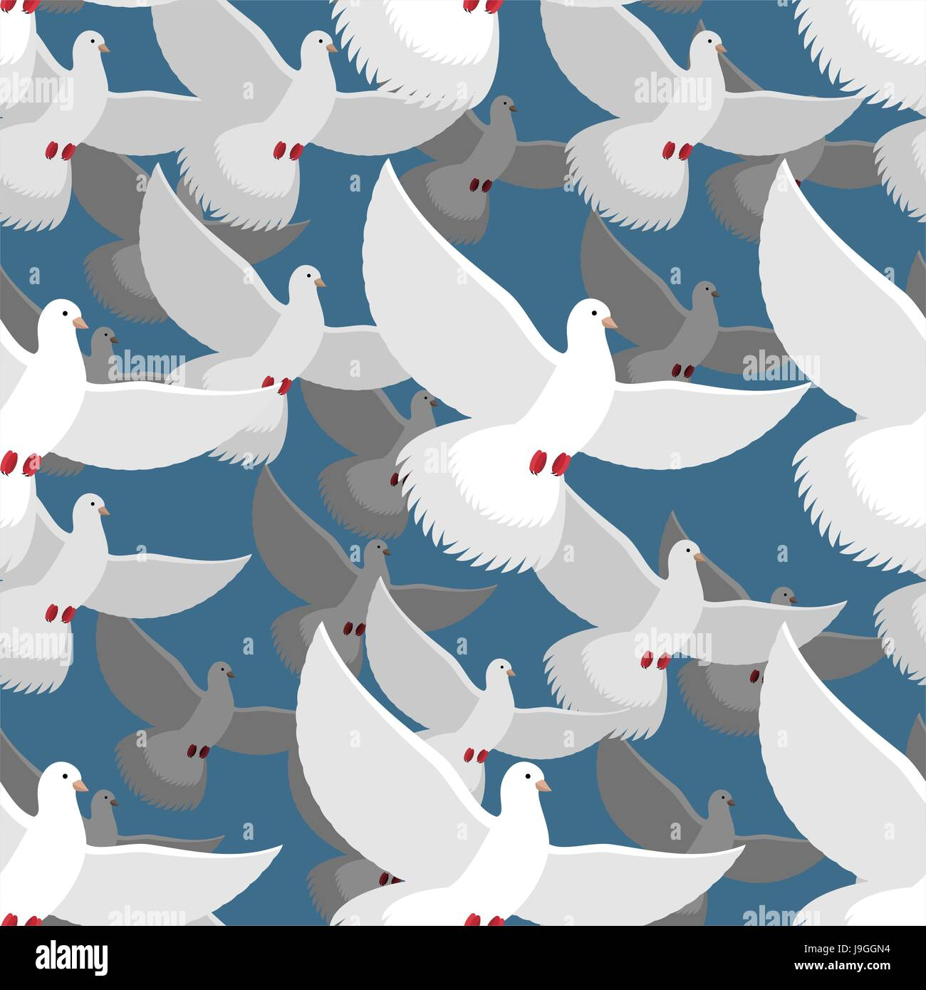 White dove ornament - Stock Vector White Dove Seamless Pattern Flock Of White Doves In Blue Sky Ttexture Of Flying Bird White Pigeon Peace Symbol Ornament Of Flying Pigeon