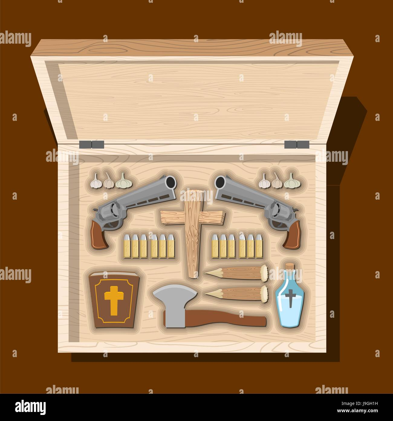 weapons vampire hunter tools against undead in wooden box garlic