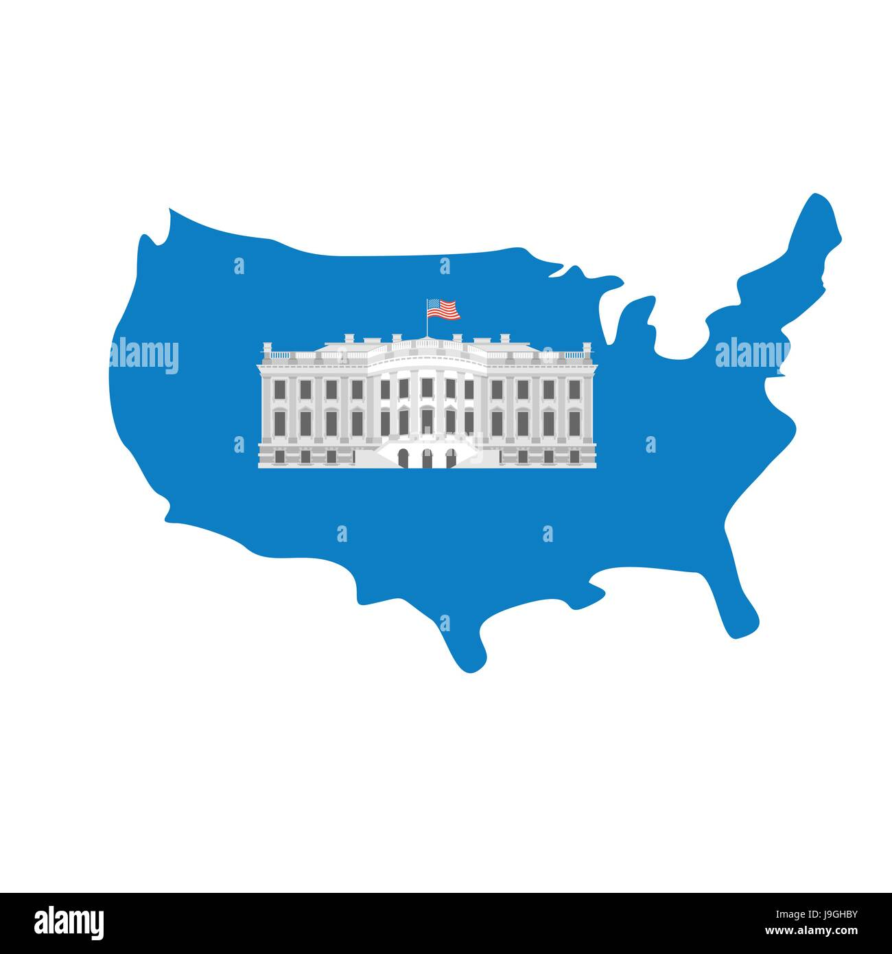 White House On Map Of America Residence Of President USA US - White house on us map