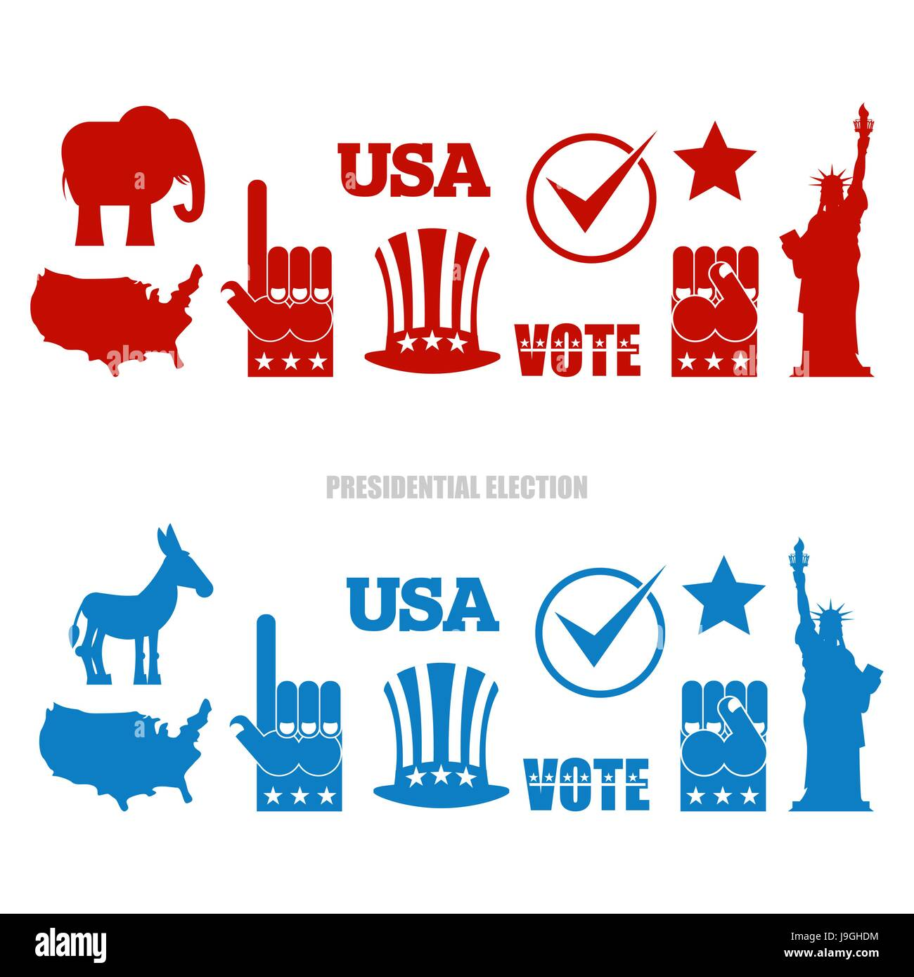 Democratic and republican symbols stock photos democratic and republican elephant and democratic donkey symbols of political parties in buycottarizona