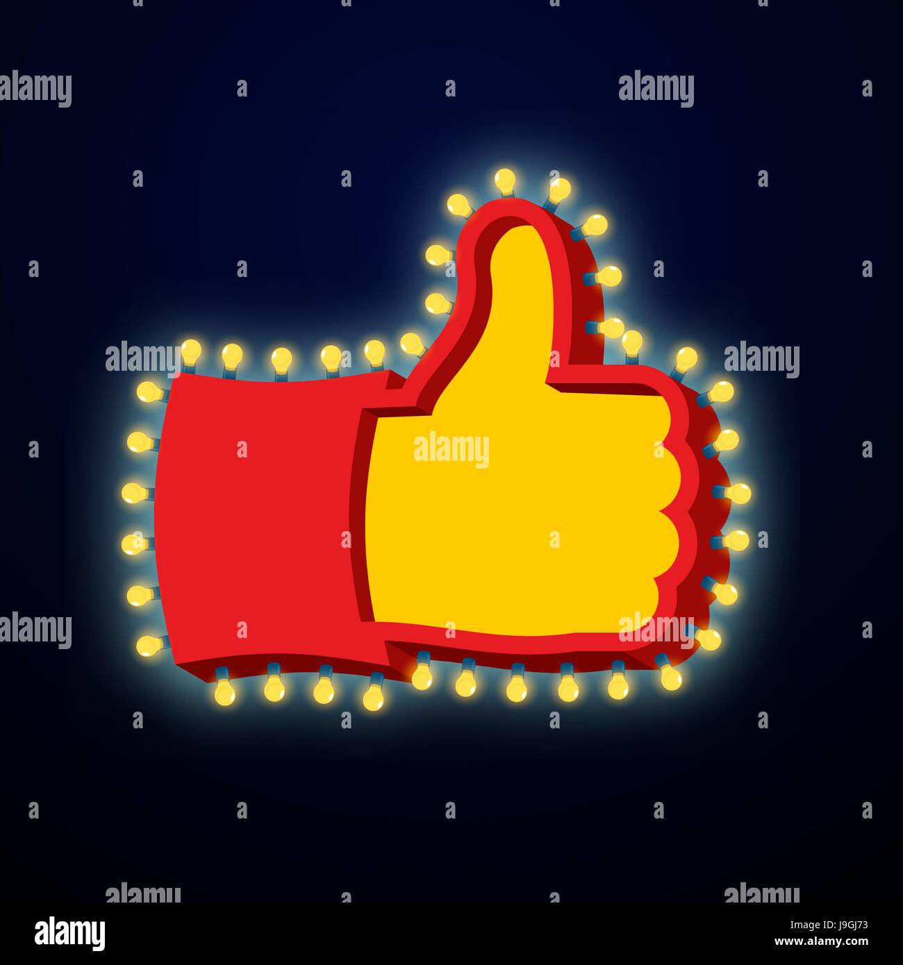 Thumb up sign with glowing lights like symbol of retro plate hand thumb up sign with glowing lights like symbol of retro plate hand with light bulb vintage direction pointer glittering lights gesture of approval buycottarizona Choice Image