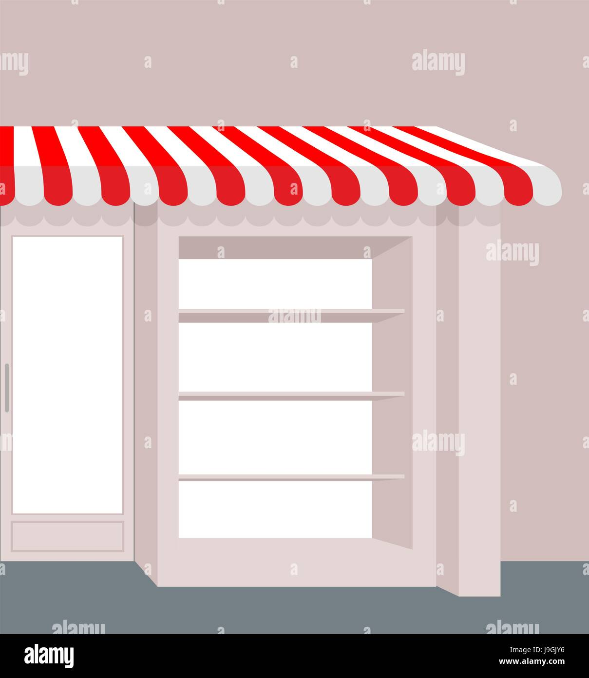 Storefront with striped roof. Red and white stripes of canopy over counter. Element of building & Storefront with striped roof. Red and white stripes of canopy over ...