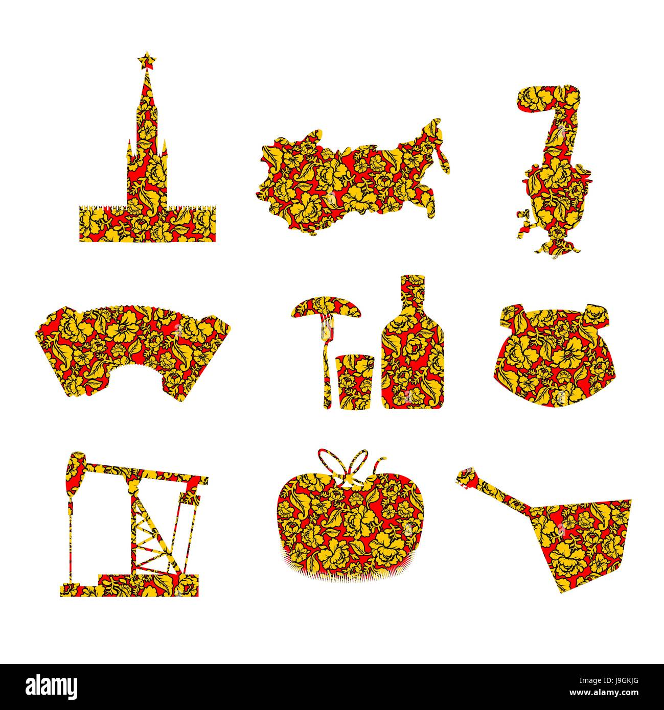Set symbols and icons for russia kremlin and balalaika oil rig set symbols and icons for russia kremlin and balalaika oil rig and vodka with earflaps and samovar dumplings and accordion flag of russian federa buycottarizona