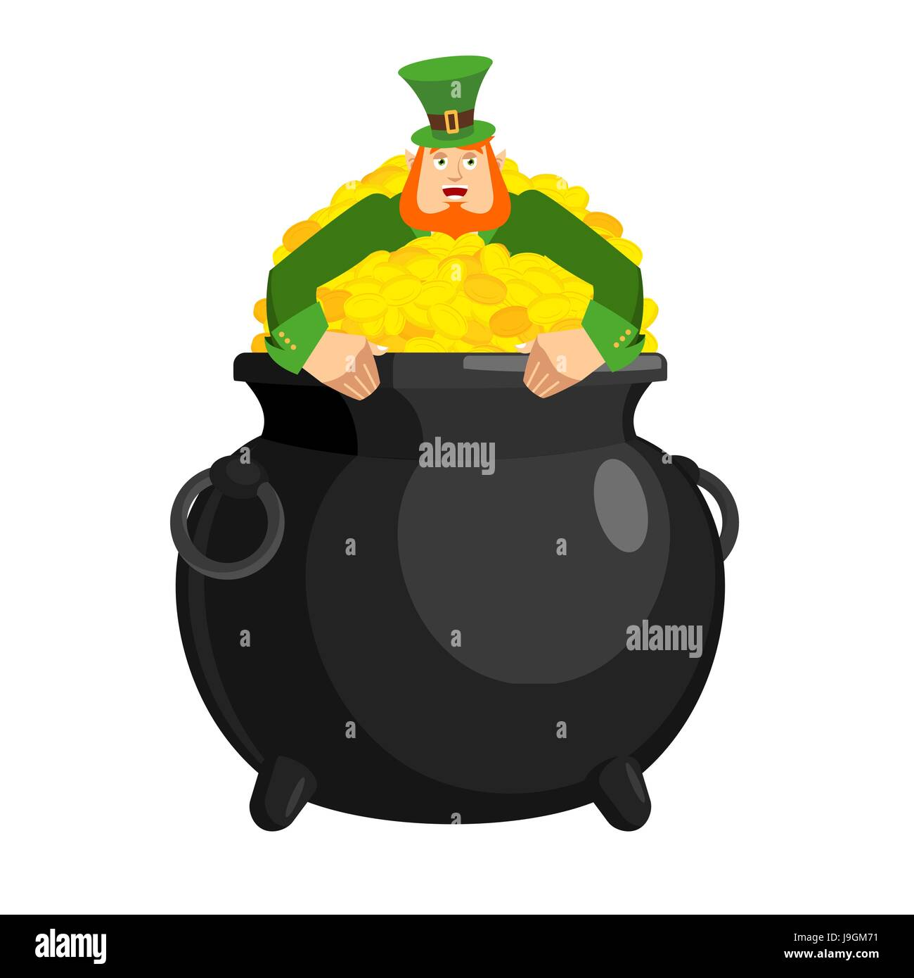 Uncategorized Leprechaun Pot leprechaun in pot gold dwarf with red beard and bowler golded coins legendary treasures for lucky st patrick s day holiday i