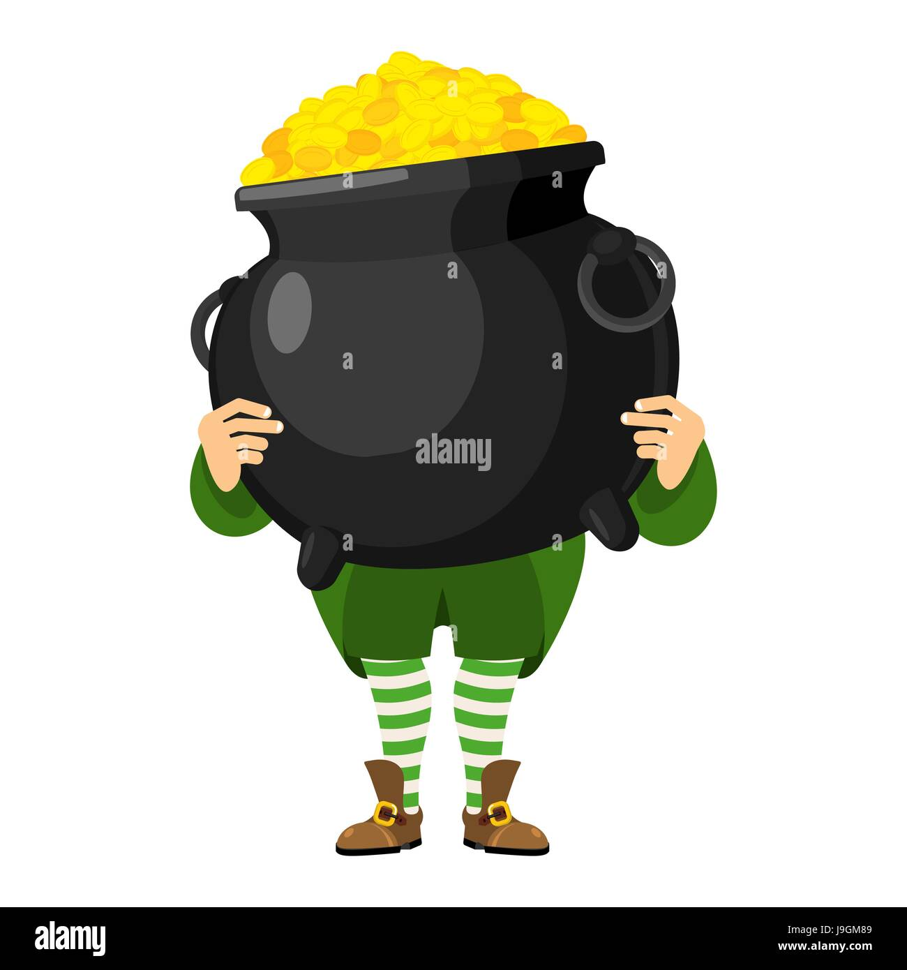 leprechaun holding pot of gold dwarf with red beard and boiler of
