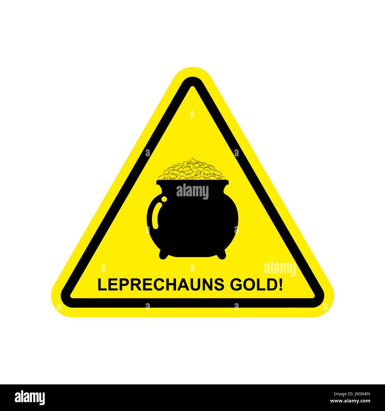 attention leprechaun gold pot of golden coins on yellow triangle
