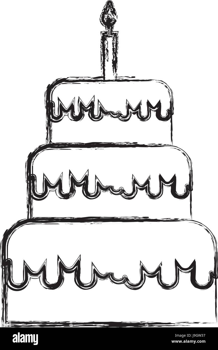 Sketch draw birthday cake cartoon stock vector art illustration sketch draw birthday cake cartoon sciox Image collections