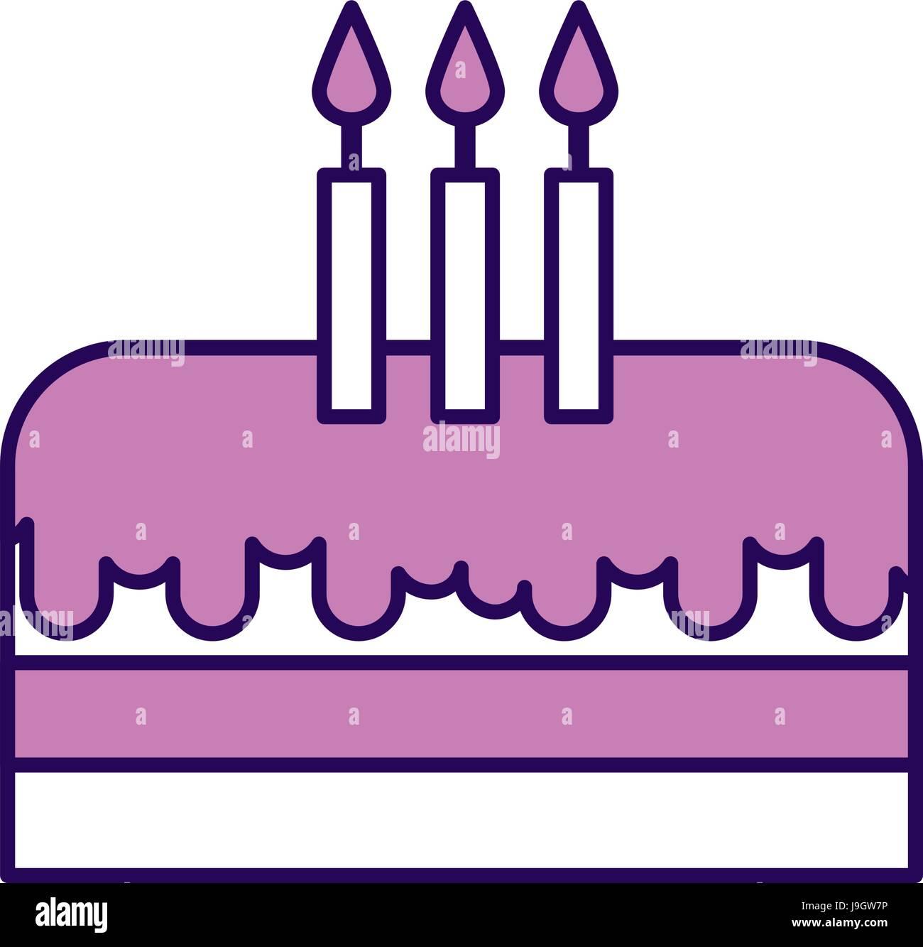 cute purple birthday cake cartoon Stock Vector Art Illustration