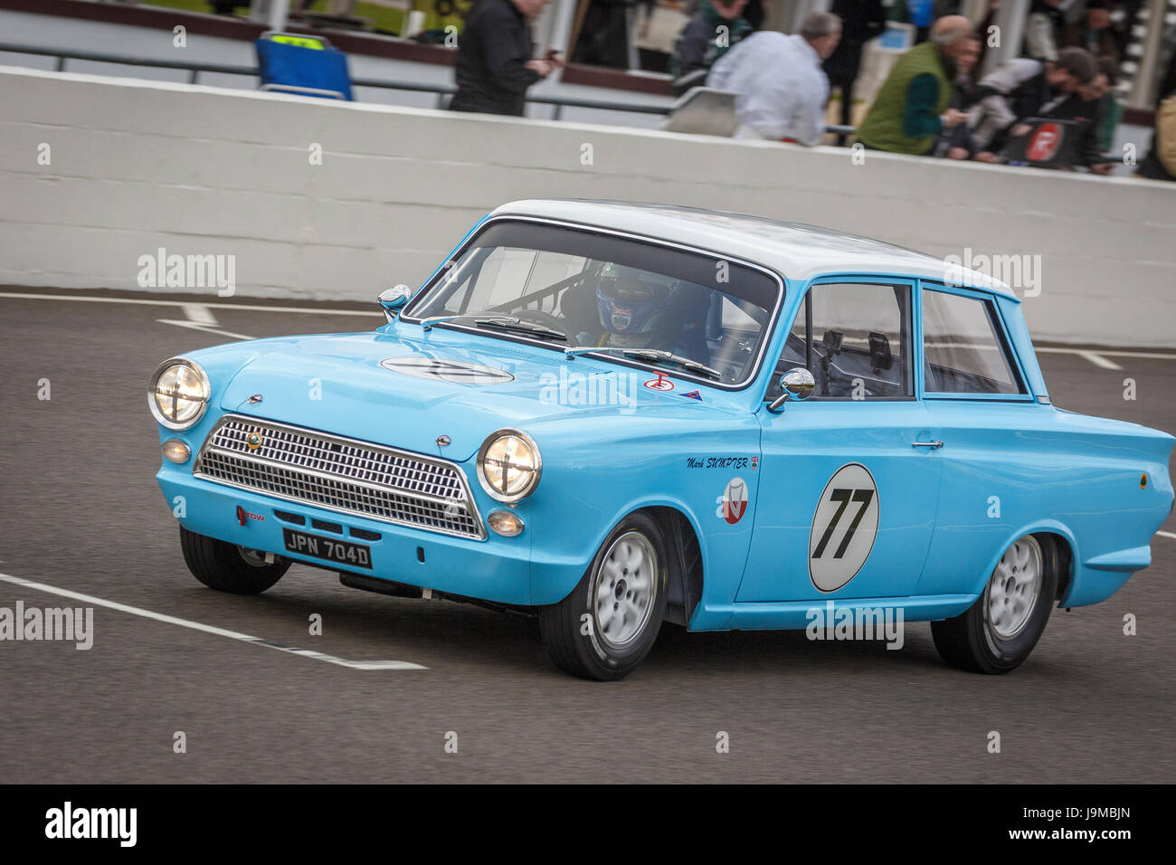1964 ford lotus cortina mk1 with driver mark sumpter during the whitmore cup race at
