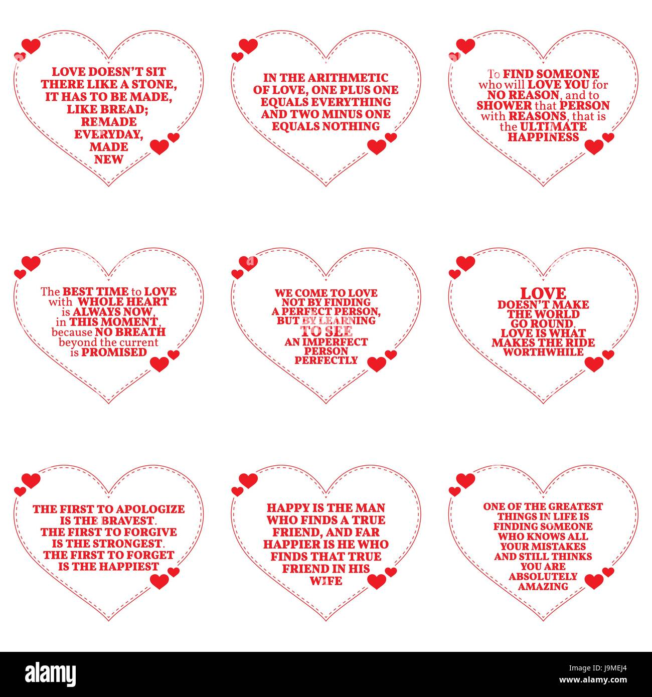 Simple Quotes About Love Cool Set Of Quotes About Love Over White Backgroundsimple Heart Shape