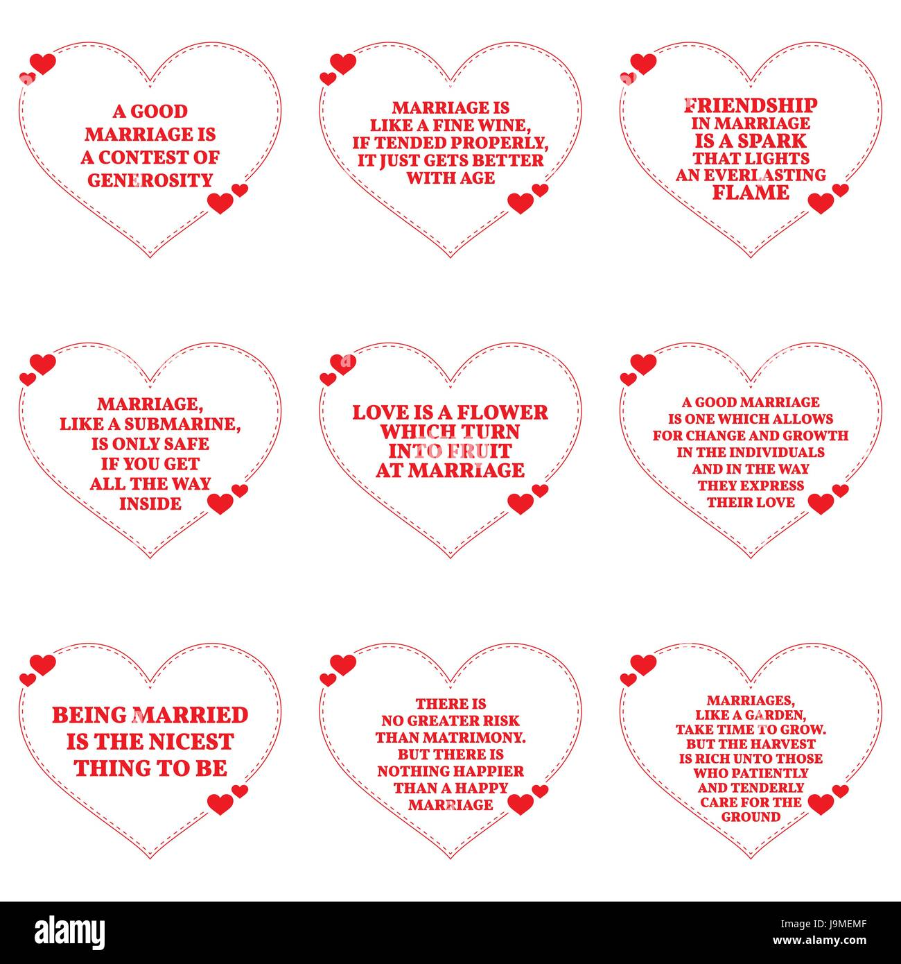 Just Married Quotes Set Of Quotes About Love And Marriage Over White Background