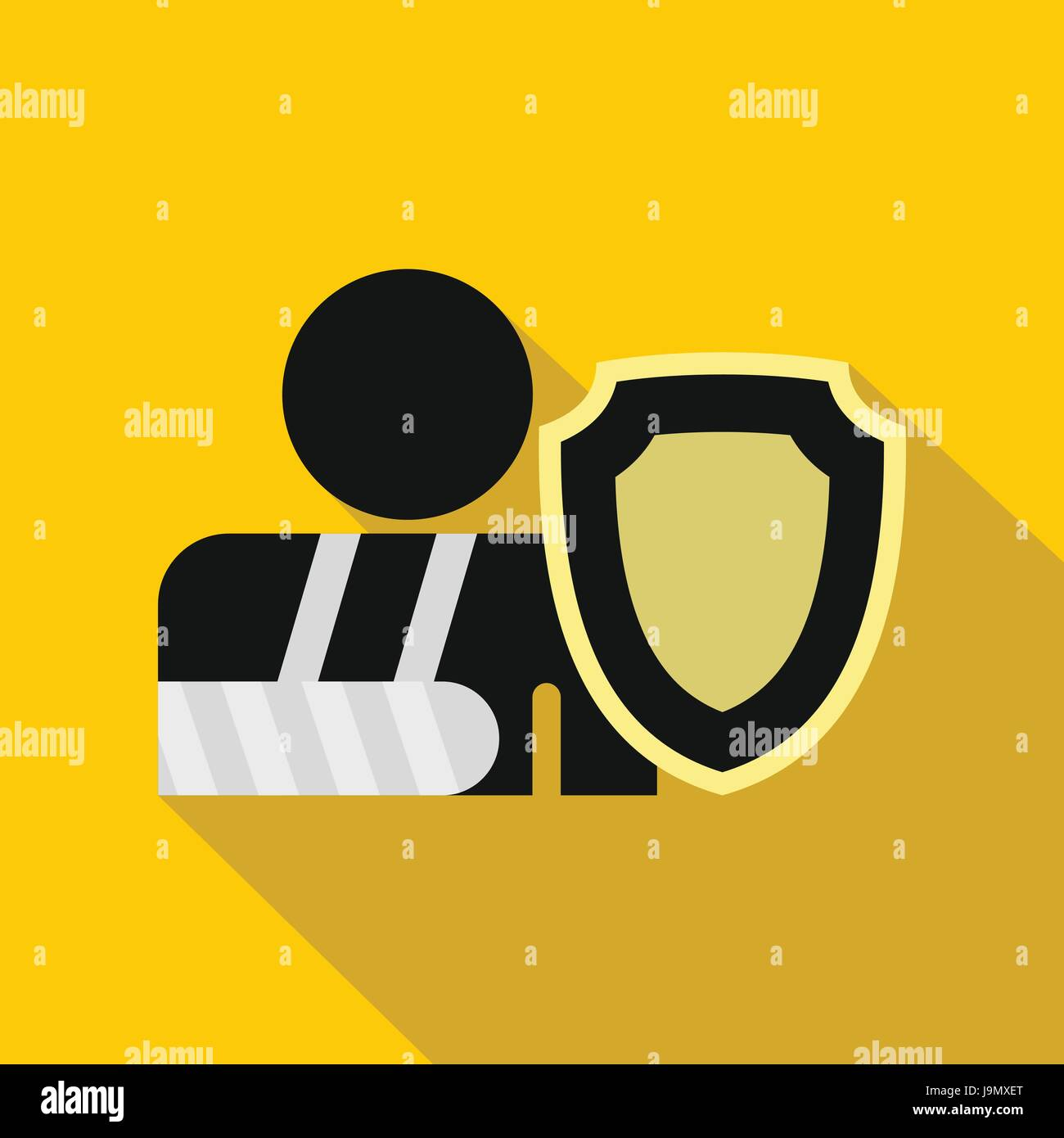 Broken hand and safety shield icon flat style stock vector art broken hand and safety shield icon flat style biocorpaavc