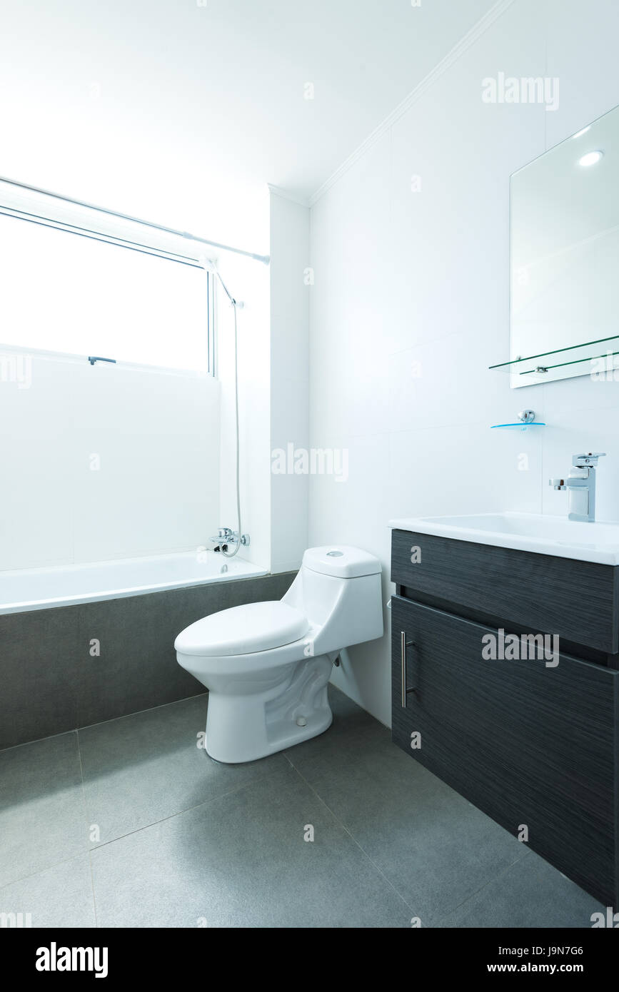 Empty Apartment Bathroom bathroom of a small one bedroom empty apartment stock photo
