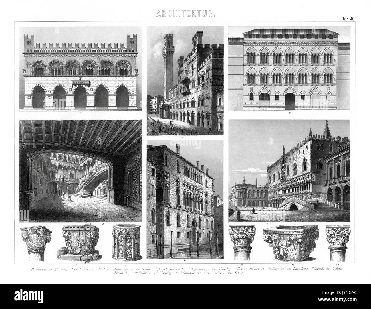 1874 Antique German Encyclopedia Atlas Print Italian Gothic Architecture Of Florence Venice And Other From The Early Renaissance Periods
