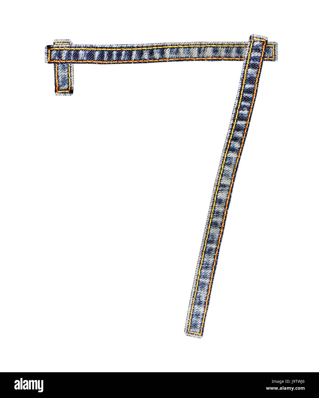 Number 7 (seven) of jeans alphabet isolated on white background ...