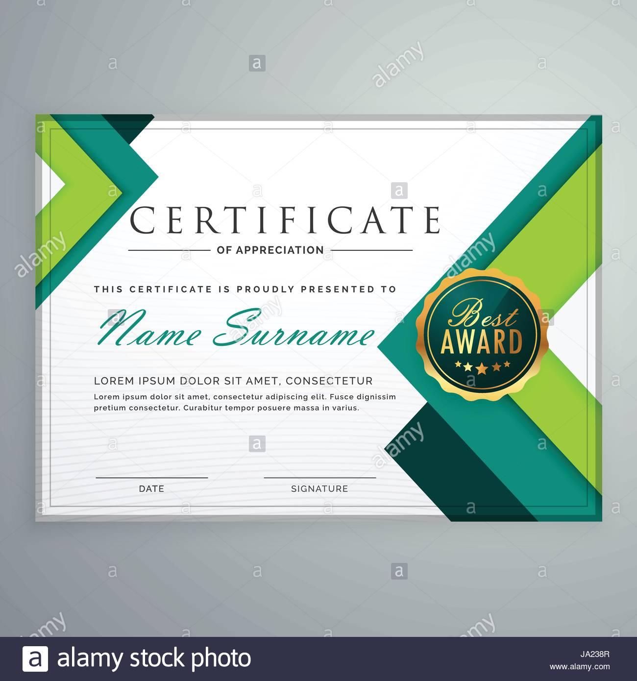 Modern Geometric Shape Certificate Design Template Stock