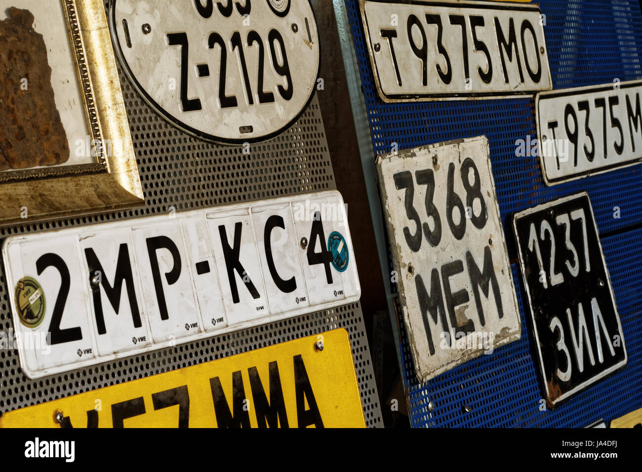 Old car plates Stock Photo, Royalty Free Image: 143927942 - Alamy