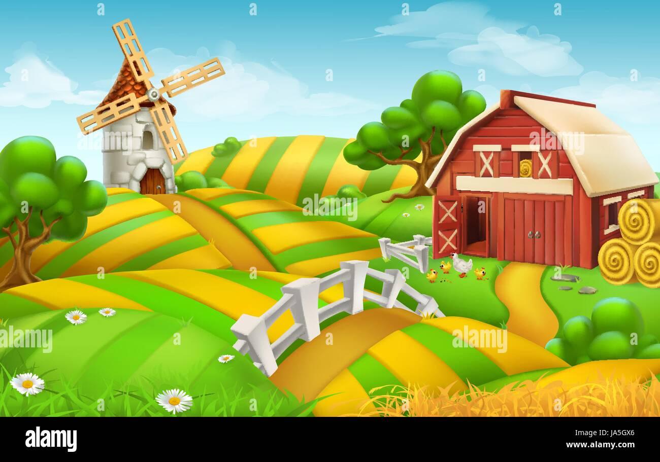 Farm Field Landscape 3d Vector Background Stock Vector