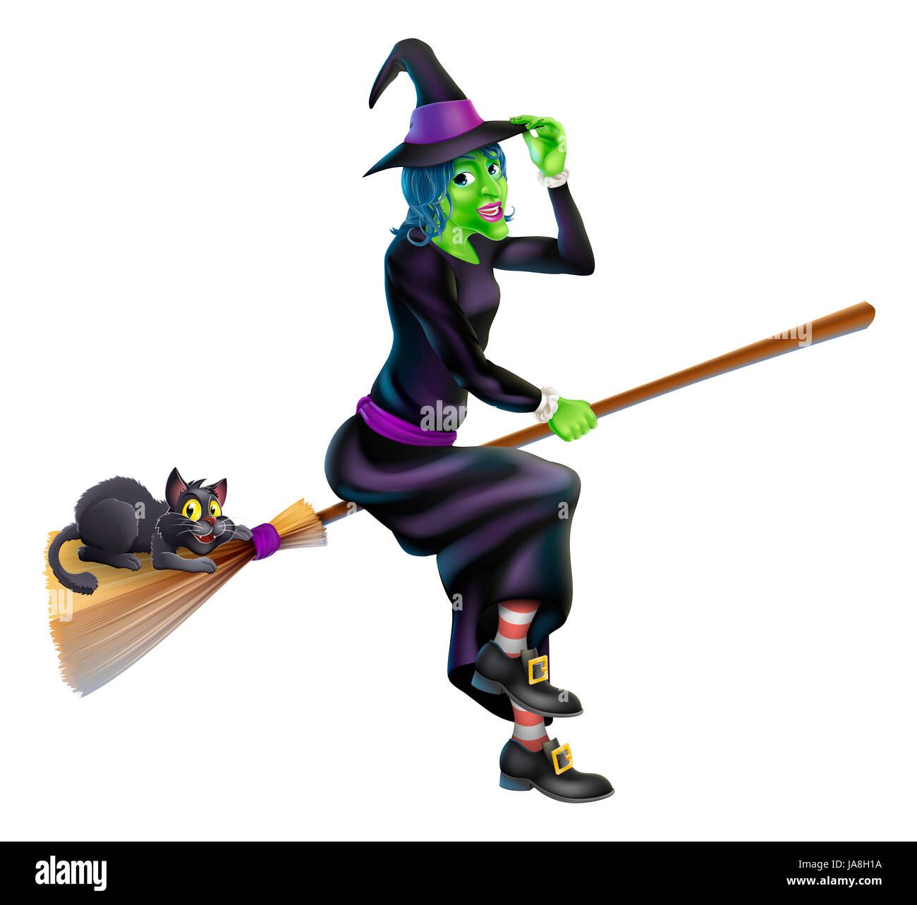 a friendly cartoon halloween witch flying on her broom stick with her cute black cat - Flying Halloween Witch