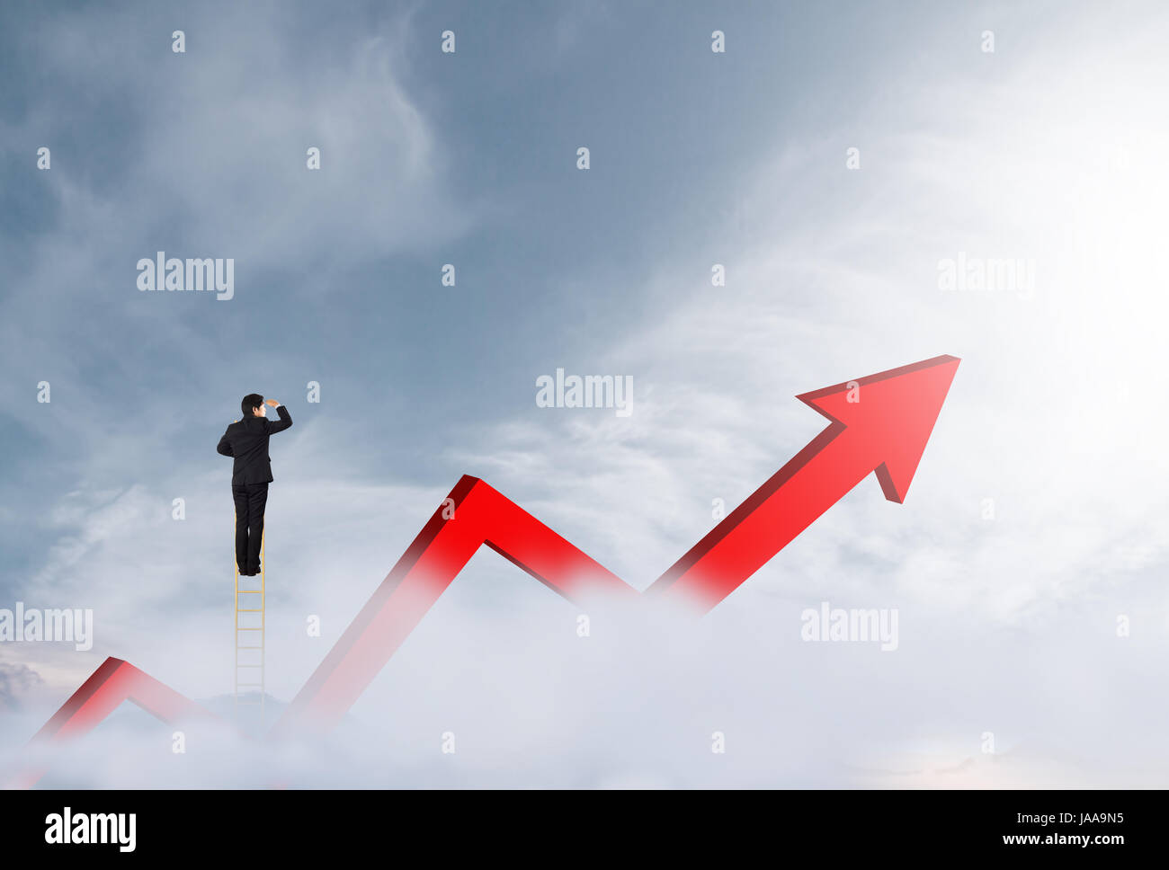Businessman climbing on a ladder over mountain looking growth businessman climbing on a ladder over mountain looking growth chart nvjuhfo Gallery