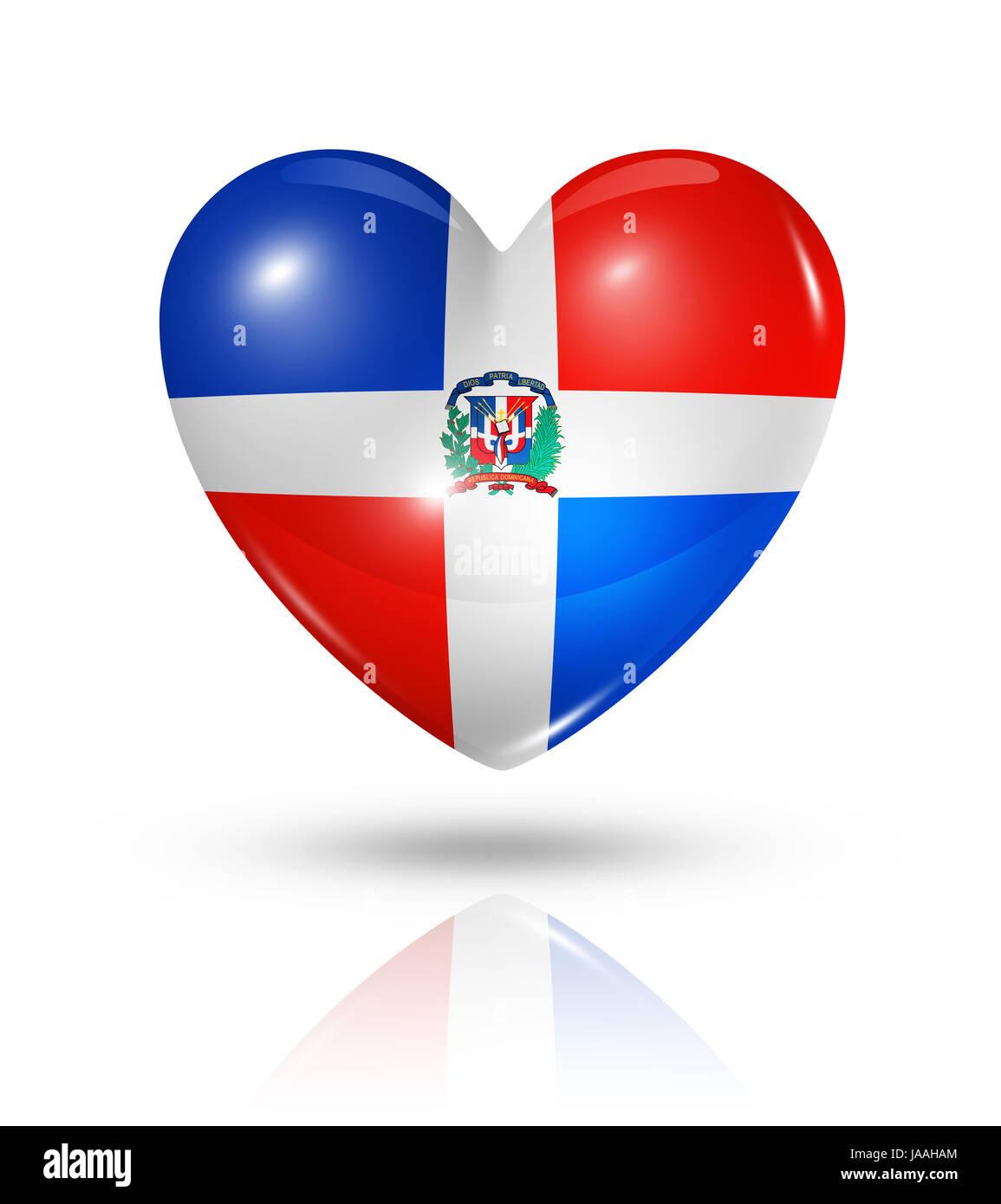 Flag Love In Love Fell In Love Dominican Heart Pictogram Stock