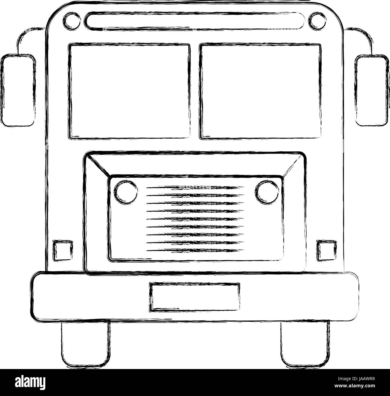 sketch blurred silhouette image front view school bus with ...